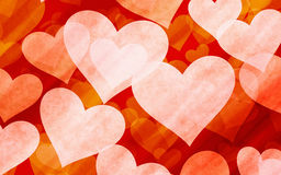 Transparent hearts on red rays backgrounds Royalty Free Stock Photography