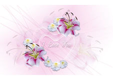 Transparent hearts with white lilies and asters on a pink background Stock Photo