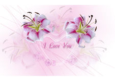 Transparent hearts with white lilies on a pink background Royalty Free Stock Photo