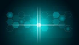 Transparent hexagons and glow circles Stock Photo