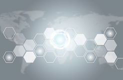 Transparent hexagons, world map and other elements Stock Photography