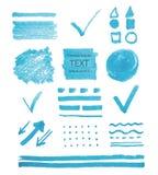 Transparent highlighter marks. Vector set of transparent highlighter marks, blue color isolated on white royalty free illustration