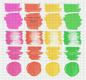 Transparent highlighter marks. Vector set of transparent highlighter marks, green, red, pink, yellow colors on school checked paper vector illustration