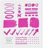 Transparent highlighter marks. Vector set of transparent highlighter marks, pink color on school checked paper stock illustration