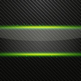 Transparent horizontal glass banner with green light effect on Carbon background Royalty Free Stock Images
