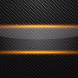 Transparent horizontal glass banner with yellow light effect on carbon background. Vector illustration Stock Photos