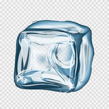 Transparent ice cube in blue colors Royalty Free Stock Photos