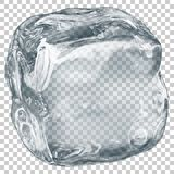 Transparent ice cube. One big realistic translucent ice cube in gray color on transparent background. Transparency only in vector format Royalty Free Stock Photos