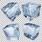 Transparent ice cubes. Set of four transparent ice cubes in blue colors Stock Photos