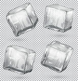Transparent ice cubes, set of 4 pieces. Illustration Stock Images