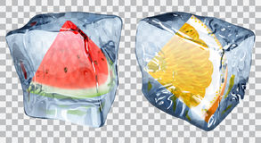Transparent ice cubes with slices of watermelon and orange. Two transparent ice cubes with frozen slices of watermelon and orange Royalty Free Stock Images