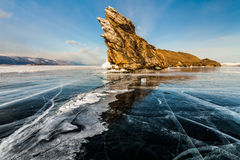 Transparent ice on Lake Baikal. Siberia, Russia Royalty Free Stock Photography