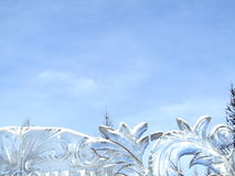 Transparent ice sculpture against the sky Royalty Free Stock Images