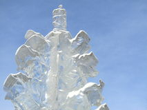 Transparent ice sculpture against the sky Royalty Free Stock Photography