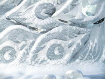 Transparent ice sculpture, the texture of the feathers Stock Photo