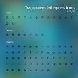 Transparent letterpress icons. Royalty Free Stock Photo