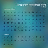 Transparent letterpress icons. Stock Image