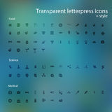 Transparent letterpress icons. Stock Photography