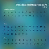 Transparent letterpress icons. Royalty Free Stock Images