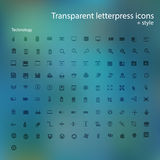 Transparent letterpress icons. Royalty Free Stock Image