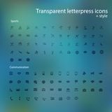 Transparent letterpress icons. Royalty Free Stock Photography