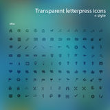 Transparent letterpress icons. Royalty Free Stock Photos