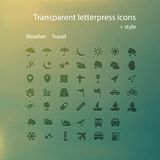Transparent letterpress icons. Vector computer transparent letterpress icons for using in web design Stock Photo