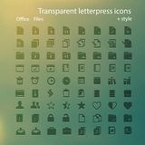 Transparent letterpress icons. Stock Photos