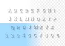 Transparent letters with long shadow. Font with latin alphabet and numbers. Stock Photography