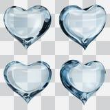Transparent light blue hearts. Set of four transparent hearts in light blue colors Stock Photos