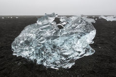 Transparent light blue ice floe on the black sand beach, Jokulsarlon, Iceland Royalty Free Stock Image