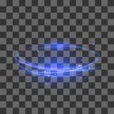 Transparent Light Effect. Blue Lightning Flafe Design. Abstract Ellipse with Circular Lens. Fire Ring Trace. Transparent Light Effect Isolated on Checkered royalty free illustration