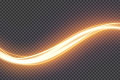 Transparent light effect with curve trail and sparkles. Glowing shiny lines. Abstract light speed motion effect. Transparent light effect with curve trail and vector illustration