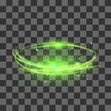 Transparent Light Effect Isolated on Checkered Background. Green Lightning Flafe. Design. Gold Glowing Stars. Abstract Ellipse with Circular Lens. Fire Ring vector illustration