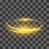 Transparent Light Effect . Yellow Lightning Flafe. Gold Glowing Stars. Ellipse with Circular Lens. Fire Ring Trace Stock Photos