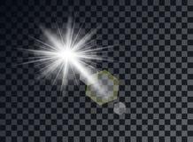 Transparent light elements on an isolated background. Bright reflection, flare. Shining star. Glaring effulgence. Vector. royalty free illustration