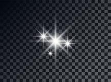 Transparent light elements on an isolated background. Bright reflection, flare. Shining star. Glaring effulgence. Vector. stock illustration