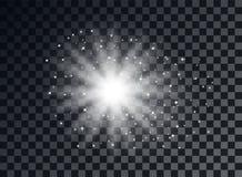Transparent light elements on an isolated background. Bright reflection, particle. Shining star. Glaring effulgence. Vector. royalty free illustration