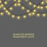Transparent lights garland, seamless border. Festive decoration, shiny Christmas lights, isolated on transparent background. Template for card, poster Royalty Free Stock Photography