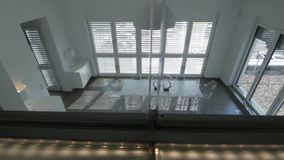 Transparent living. Glass wall and living room stock video