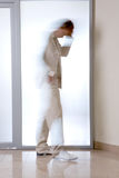 Transparent man. Blurred light profile of standing man Royalty Free Stock Photos