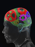 Transparent man's skull with colour curve gears. 3d image Stock Photography