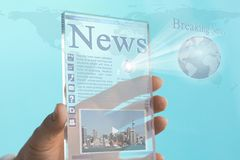 Transparent Mini Computer Tablet Phone of the Future. Futuristic Transparent Mini Computer Tablet with news report Royalty Free Stock Image