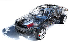 Transparent model cars. Royalty Free Stock Image