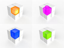 Transparent multi color cube icon Stock Images
