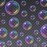 Transparent Multicolored Soap Bubbles background Stock Images
