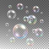 Transparent multicolored soap bubbles vector set Stock Photography
