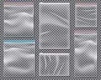 Transparent Nylon Bag with Lock or Zip. Set of Isolated Sealed P. Transparent Nylon Bag with Lock or Zip. Vector Illustration. Set of Isolated Sealed Polythene Royalty Free Stock Photo