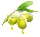 Transparent olives with oil Royalty Free Stock Photo