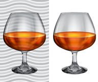 Transparent and opaque realistic full brandy glasses Stock Images